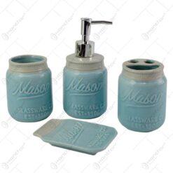 Set 4 accesorii pentru baie realizate din ceramica - Diverse culori (Model 1)