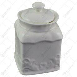 Recipient realizat din portelan cu capac pentru condimente - Alb