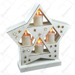 Ornament de craciun - Suport alb in forma de stea cu 4 lumanari led albe