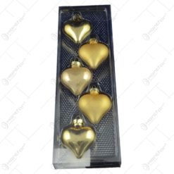 Set 5 globuri realizate din plastic in forma de inima pentru brad de craciun - Diferite modele (Auriu)