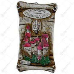 Placheta din ipsos in forma de pergamen reprezentand castelul Bran si Vlad Tepes - Medie