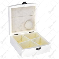 Cutie din lemn cu grafica pentru obiecte de cusut cu 4 compartimente si 1 buzunar