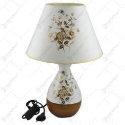 Veioza realizata din ceramica - Design cu flori (Model 1)