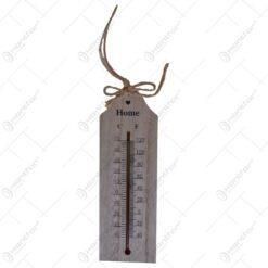 """Termometru pentru interior realizat din lemn - Design cu inscriptia """"Home"""""""