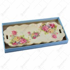 Set 2 platouri realizate din portelan in cutie cadou - Design floral