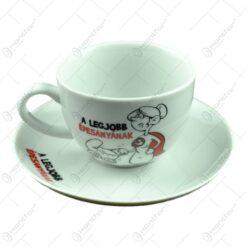 Ceasca cu farfurie - A legjobb edesanyanak - Funny Mug
