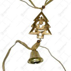 Decoratiune pentru Craciun realizat din alama - Brad cu clopotel