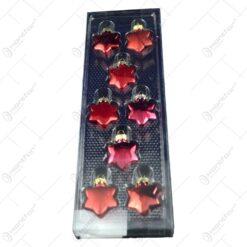 Set 8 globuri realizate din plastic in forma de stea pentru brad de craciun - Diferite modele (Rosu)