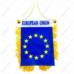 Set 12 steaguri auto tip fanion cu franjuri - 2 modele European Union/Hungary
