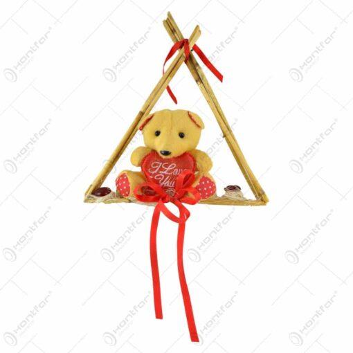 """Decoratiune de agatat pentru Sf. Valentin - Ursulet cu inimioara """"I love you"""""""