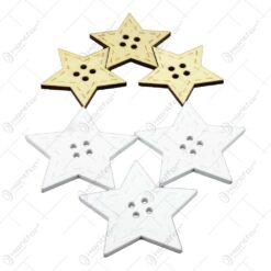 Set decoratiuni de Craciun realizate din lemn in forma de stea - Alb-crem