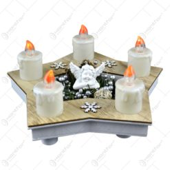 Ornament pentru masa de craciun - Suport in forma de stea cu inger de ceramica si 5 lumanari led albe