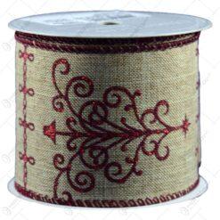 Panglica realizata din material textil (6cm x 270cm) - Design Craciun - Diferite modele (Model 2)
