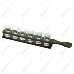 Suport pahare din lemn pentru servire. cu 6 pahare