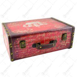 Set 2 cutii pentru depozitare realizate din lemn - Design Vintage - Diferite culori