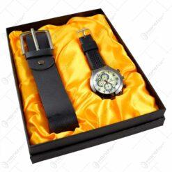 Set cadou 2 accesorii pentru barbati - Curea/Ceas