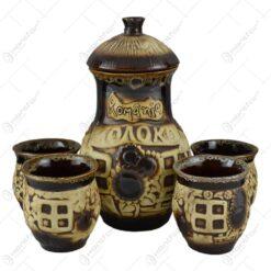 """Set 5 piese pentru vin realizate din ceramica - Design traditional cu inscriptia """"Romania"""""""