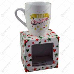 "Cana de craciun realizata din ceramica in cutie cadou - Design Craciun cu mesajul ""Merry Christmas"""