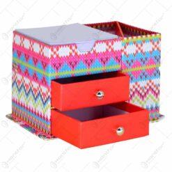Set pentru birou ralizat din carton cu 2 sertare. suport pentru notes si instrumente de scris - Deisgn Colorat