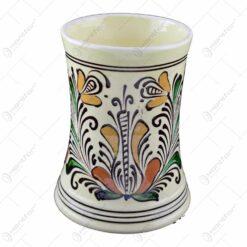 Cana ceramica de Corund pentru bere pictat cu motive traditionale - Mare