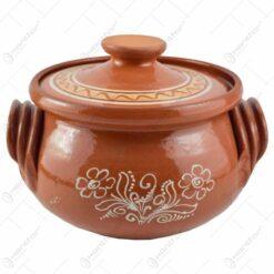 Oala de sarmale din ceramica decorat cu motive traditionale 1