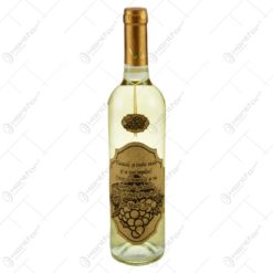 """Vin alb 0.75l cu eticheta personalizata din pluta - Design """"Viseaza..."""" (Model 3)"""