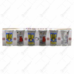 Set 6 pahare din sticla pentru aperitive -  Design Romania/port popular