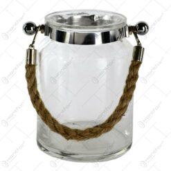 Candela realizata din sticla in forma de borcan cu snur - Design Rustic