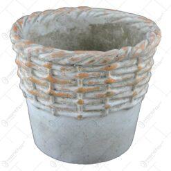 Ghiveci rotund realizat din ceramica - Gri (Model 4)