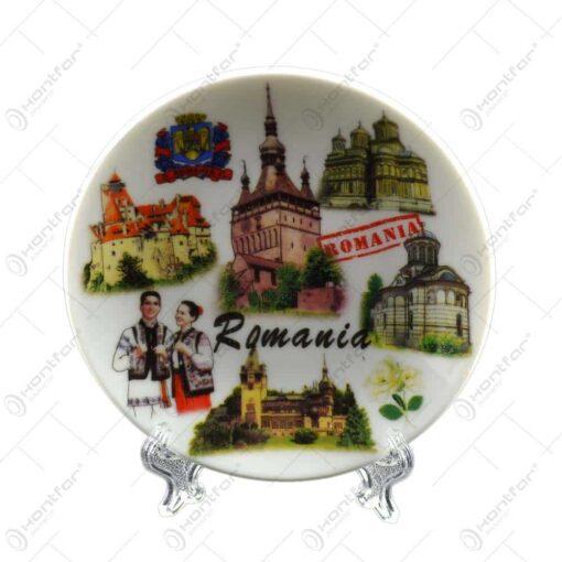 Farfurie decorativa realizata din ceramica - Design Romania & Cladiri Istorice - Diferite modele