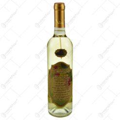 "Vin alb 0.75l cu eticheta personalizata din pluta - Design ""Cele zece porunci..."""