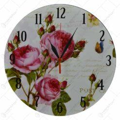 Ceas pentru perete realizat din lemn - Diverse modele cu design floral