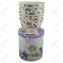 Set 6 boluri pentru servire realizate din ceramica in cutie cadou - Lavanda Casuta (Model 2)