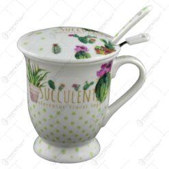 Cana cu lingurita realizata din ceramica cu strecurator - Design cu cactus