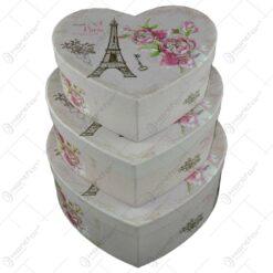Set 3 cutii in forma de inima pentru cadouri/depozitare - Diverse modele (Model 2)