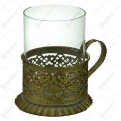 Candela realizata din metal si sticla in forma de cana - Design Vintage (Model 1)