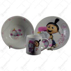 "Set serviciu masa pentru copii realizat din ceramica - Design Despicable me ""It's so fluffy"""