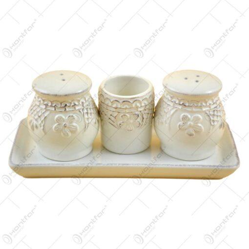 Set solnita realizata din ceramica cu suport