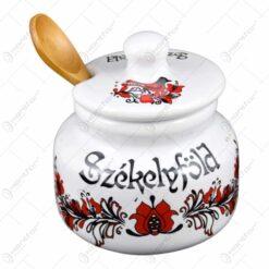 """Suport pentru miere realizat din ceramica - Design traditional cu inscriptia """"Szekelyfold"""""""
