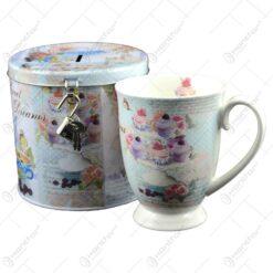 Cana realizata din ceramica in cutie cadou de metal - Design cu flori si muffin