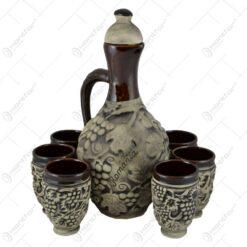 Set pentru vin realizat din ceramica - Design Strugure (Model 8)