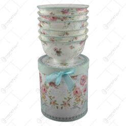 Set 6 boluri pentru servire realizate din ceramica in cutie cadou - Design cu trandafiri (Model 2)