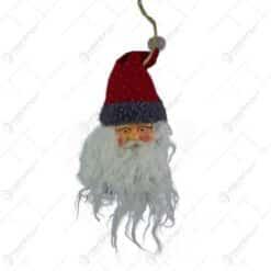Figurina decorativa de agatat realizata din material textil si plastic pentru bradul de Craciun - Mos Nicolae (Model 3)