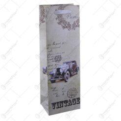 Punga cadoul pentru bauturi realizata din hartie laminata - Design Vintage