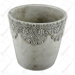 Ghiveci rotund realizat din ceramica - Gri (Model 2)
