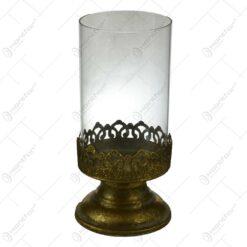 Candela realizata din sticla si metal in forma de pahar - Design Vintage (Tip 1)