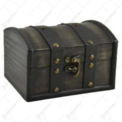 Cutiuta realizata din lemn. metal si piele ecologica in forma de cufar - Design Vintage (Tip 3)
