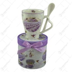 Cana cu lingurita din ceramica in cutie cadou - Lavanda Garden