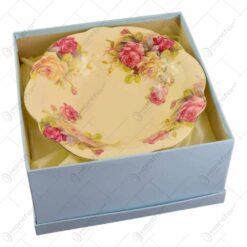 Fructiera cu talpa realizata din ceramica cu marginile poleite - Design Trandafiri (25cm)