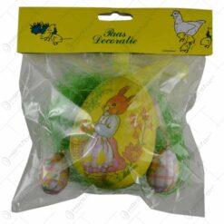 Set 3 oua decorate pentru Pasti cu iarba realizata din sisal - Design cu iepure si flori